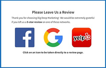 Get more online reviews on platforms like Google, Facebook, and Yelp