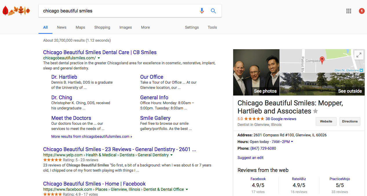 how to get google reviews - beautiful smiles chicago example