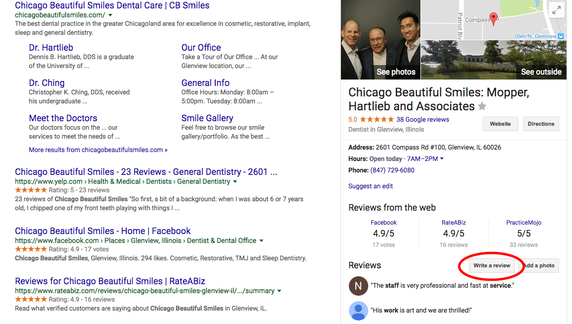 beautiful smiles chicago example of how to get google reviews