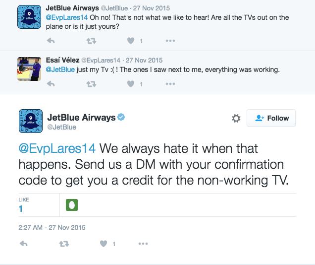 Responding to a negative review - Jet Blue on Twitter