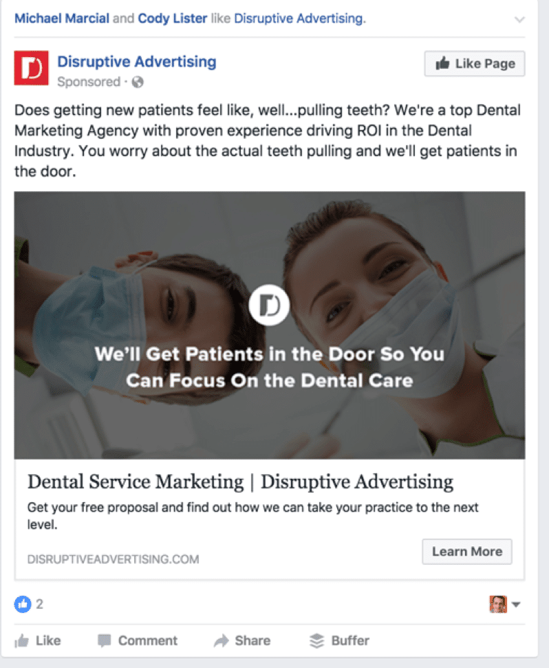 dental marketing idea - facebook ad