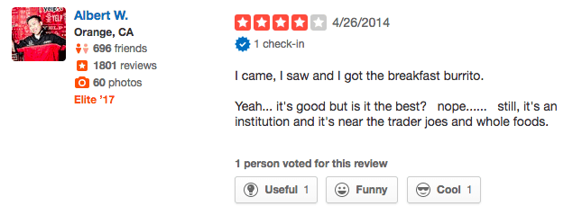 Funny Yelp review - foodie