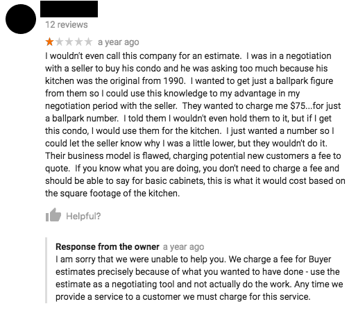 negative Google review response