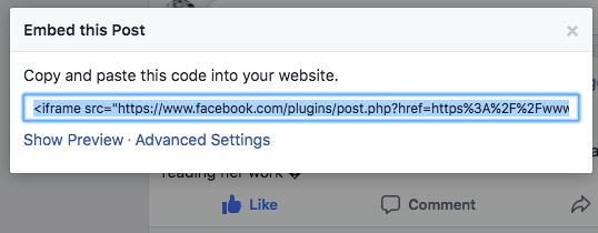Select Facebook Review Embed Code