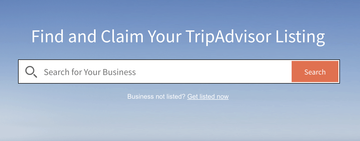Search TripAdvisor for your business so you can add it