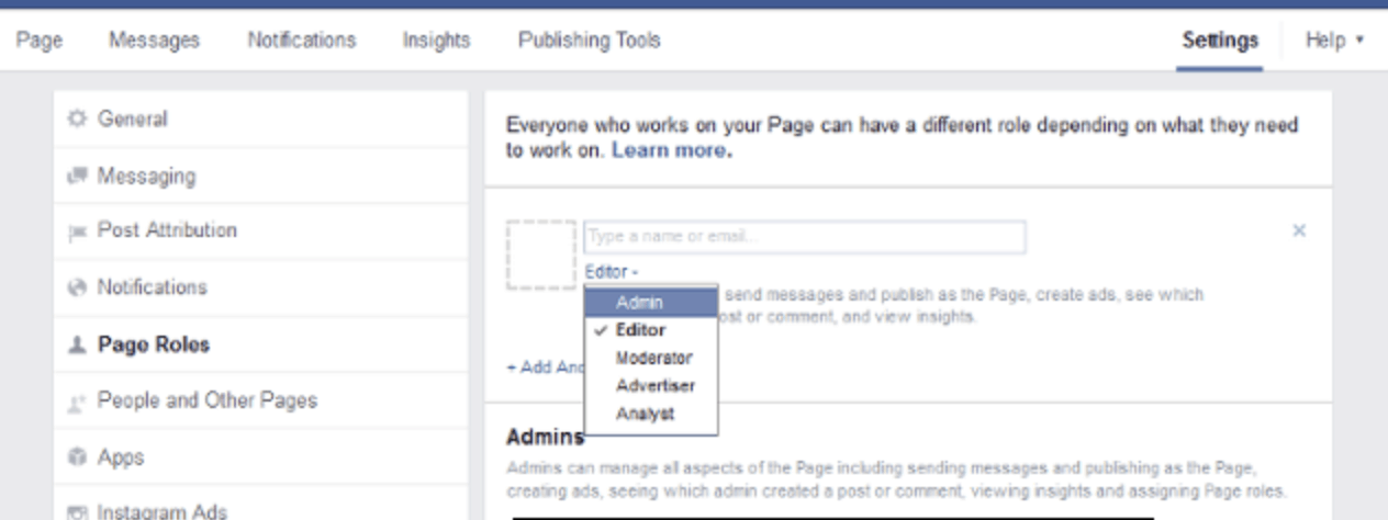 setting Facebook role access