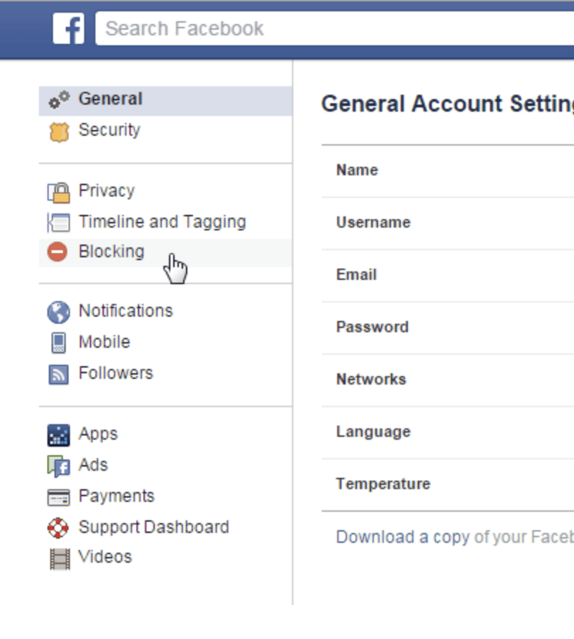 General Facebook account settings