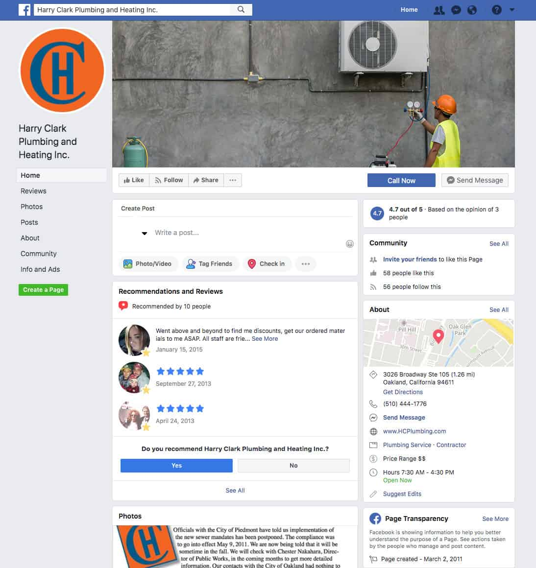 HVAC Business Facebook Page