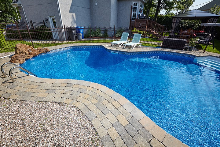 Backyard pool for a suburban home
