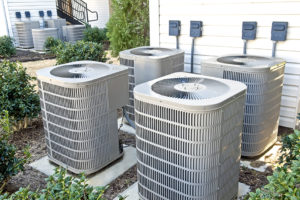 Air Conditioners Outside an Apartment Building