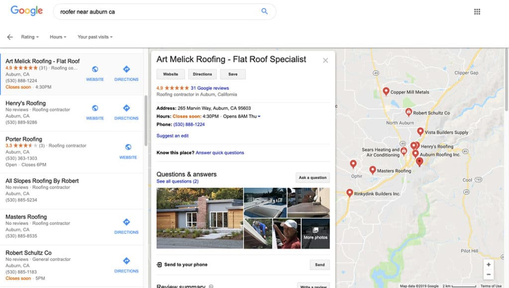 Google My Business GMB Listing for Local Roofing Business