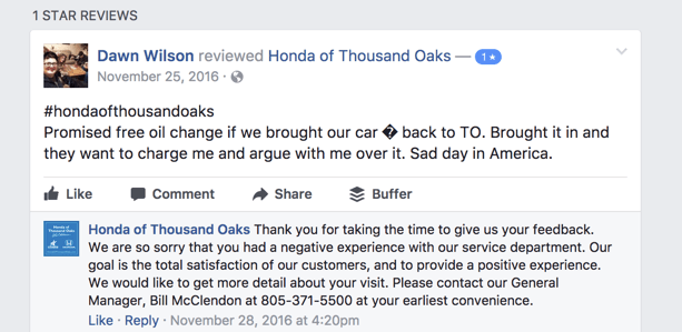 Responding to a negative review - Auto Dealership Example