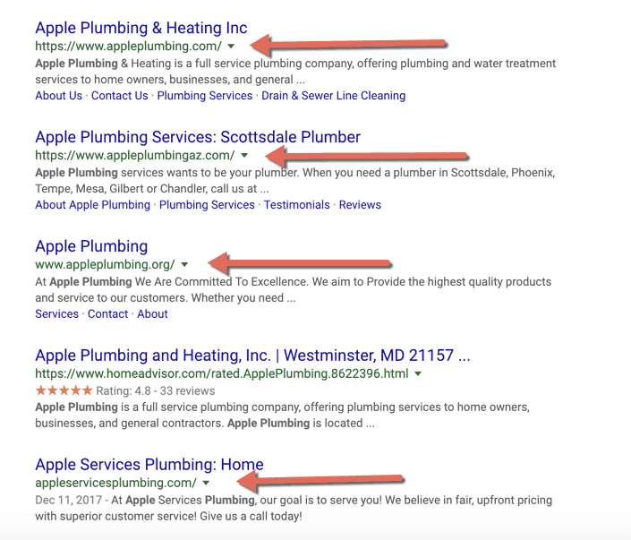 Check your business name on search engines