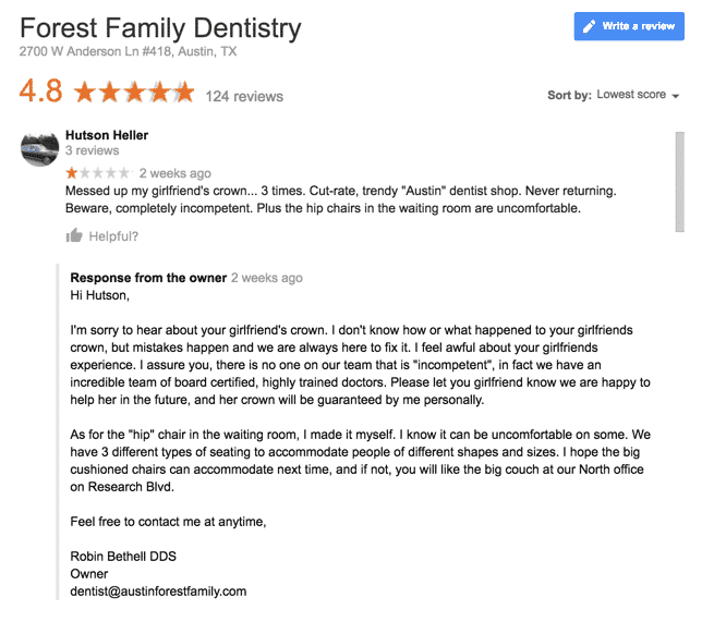 Responding to a negative review - Forest Family Dentistry