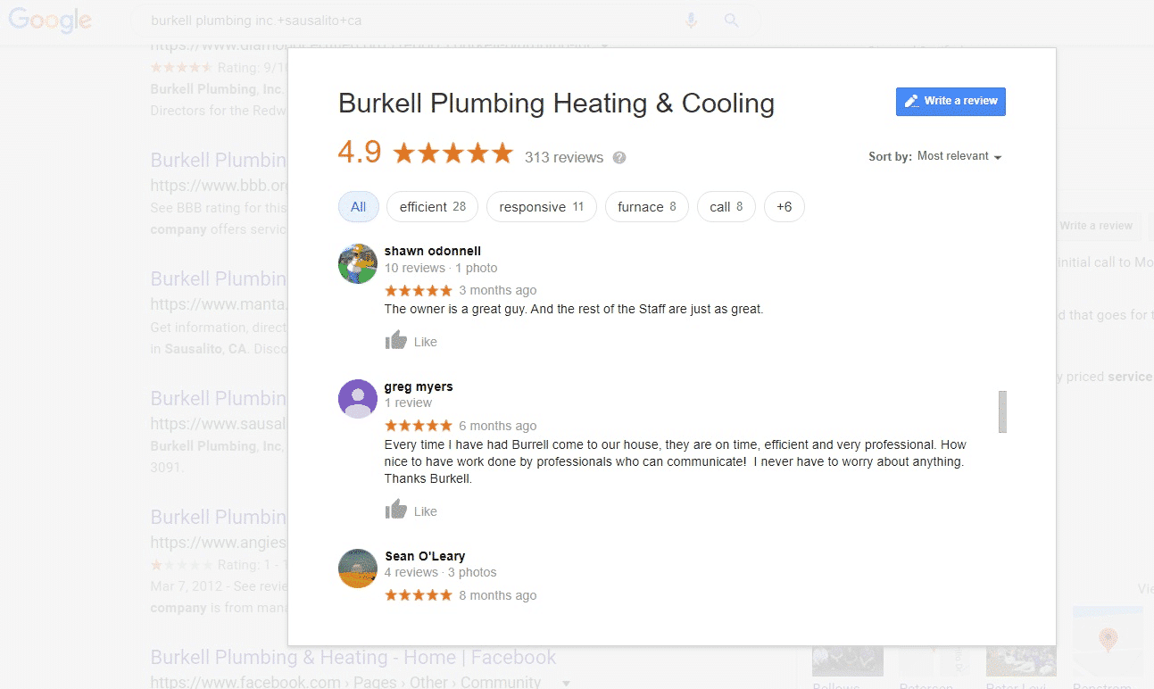 Ask for plumbing customers for reviews
