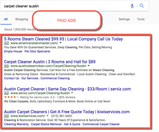 Carpet Cleaning Paid Ads