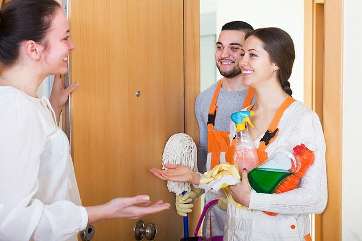 Arriving at a customer's home for a cleaning business