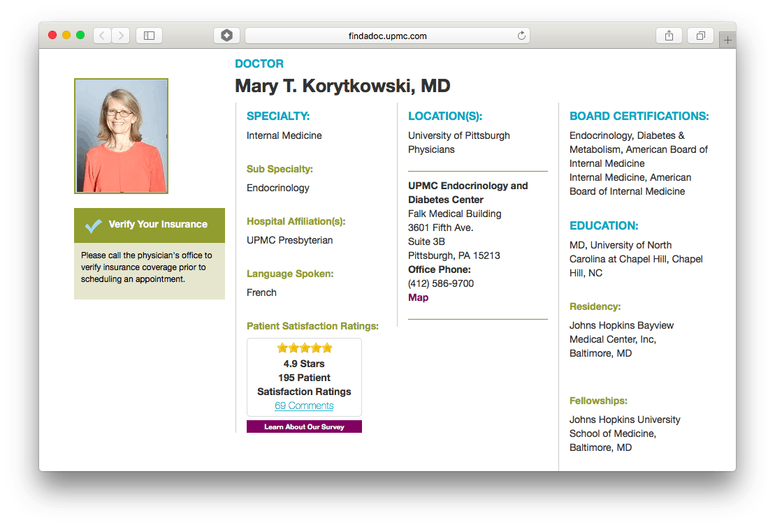 UPMC's website hosts individual pages for physicians and advanced care providers, which feature additional information and patient reviews.