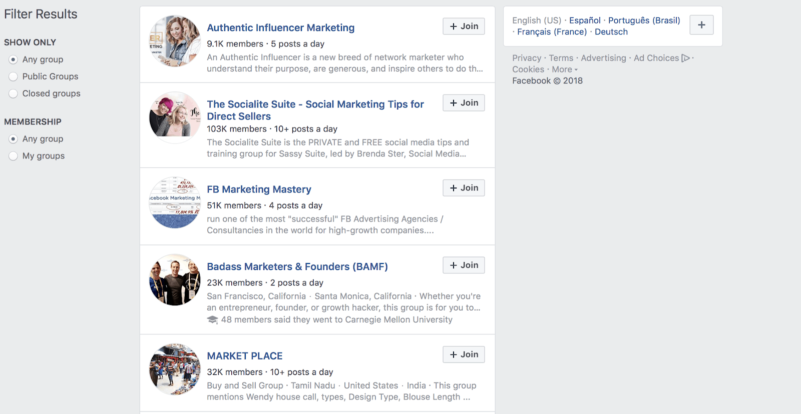 Join Relevant and Local Facebook Groups