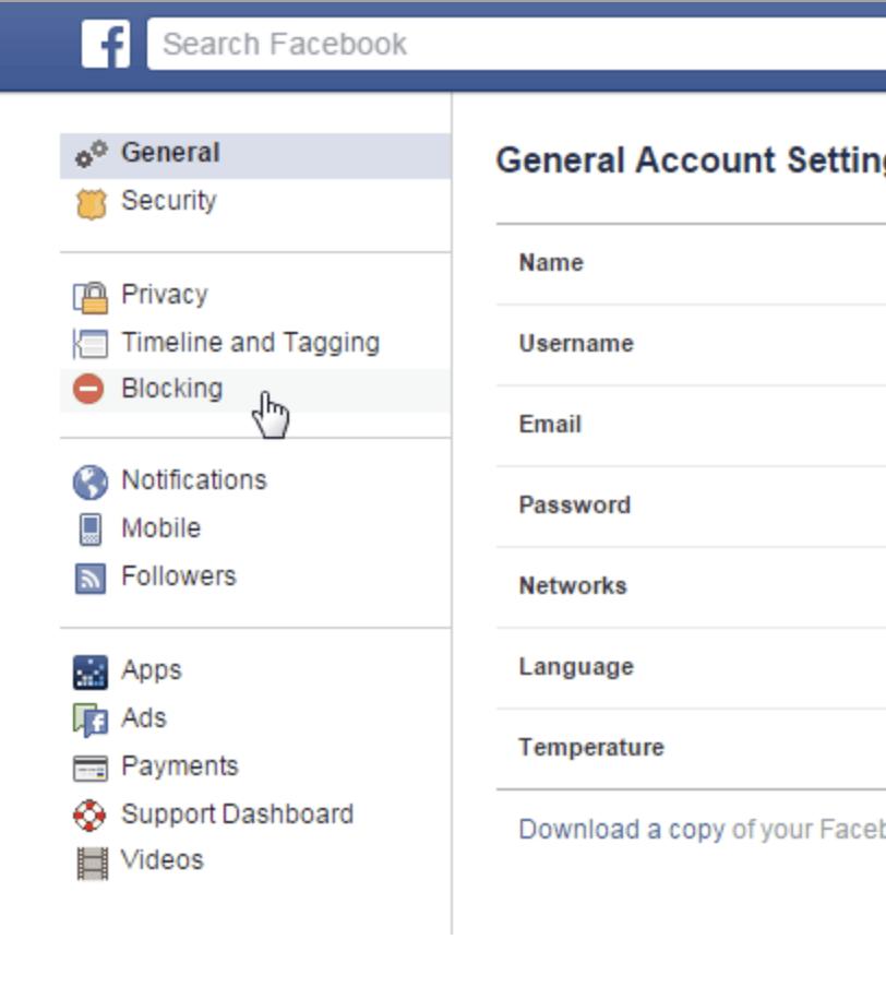 General Facebook account settings