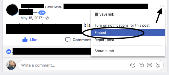 Select the Facebook Embed Button