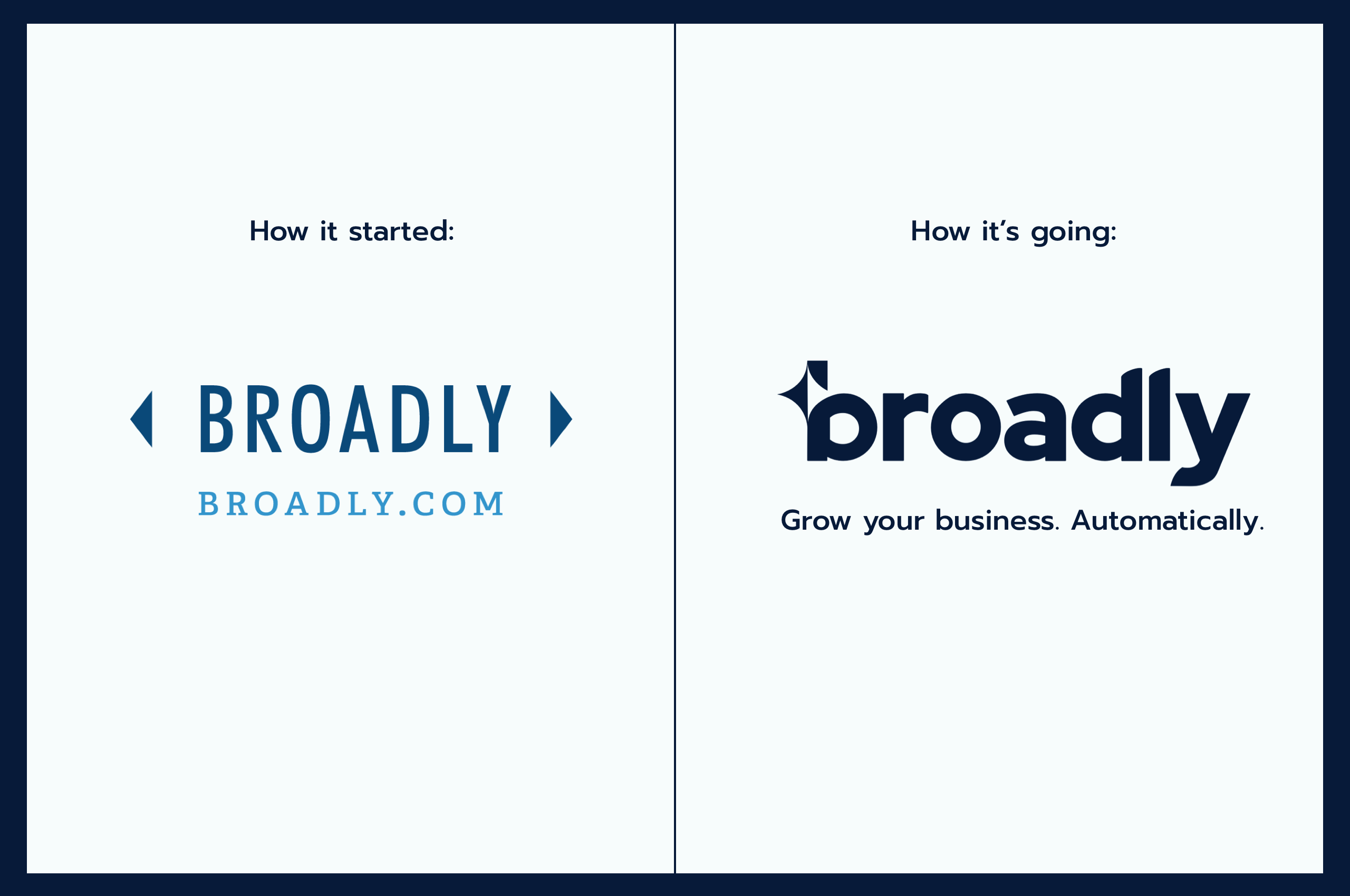 Old Broadly logo compared to the new Broadly logo