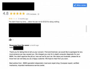 negative google reviews auto shop