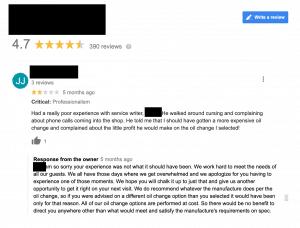 negative google review auto shop