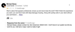 negative review home services wrong